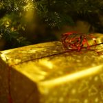 wrapped present under tree